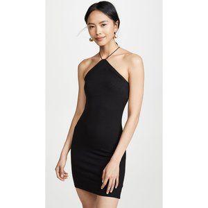 NEW Enza Costa Silk Rib Strappy Halter Dress Black